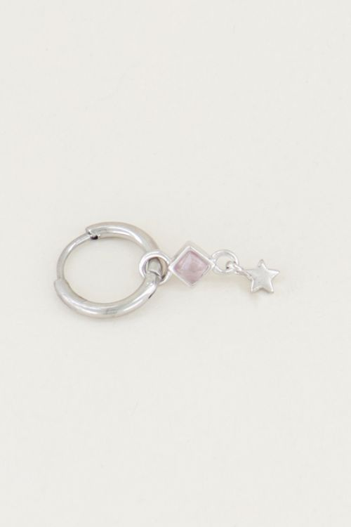 One piece oorring Rose Quartz & ster