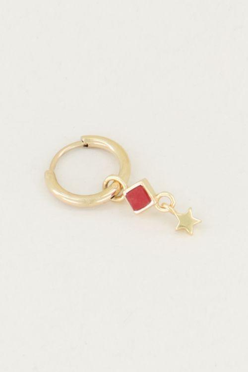 One piece oorring Red Jade & ster, oorring met ster