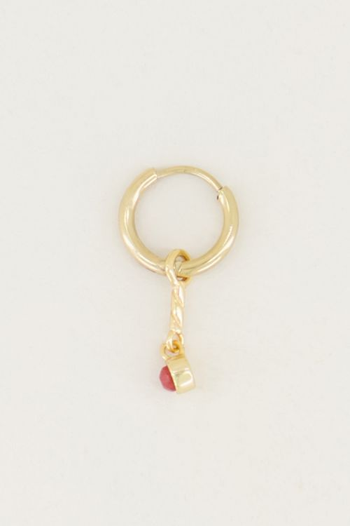 One piece oorring Red Jade bedel, oorbel met bedel