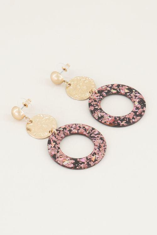 Round drop earrings with pink glitter | Pink earrings | My Jewellery