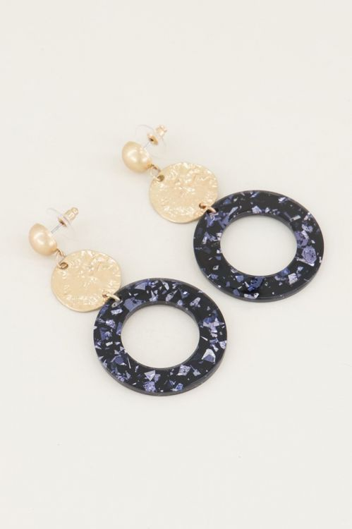Oorhangers rond met blauwe glitters | blauwe oorbellen My Jewellery