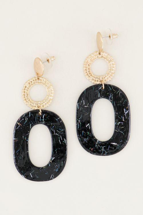 Zwarte oorhangers ovaal met glitters | Statement oorbellen My Jewellery