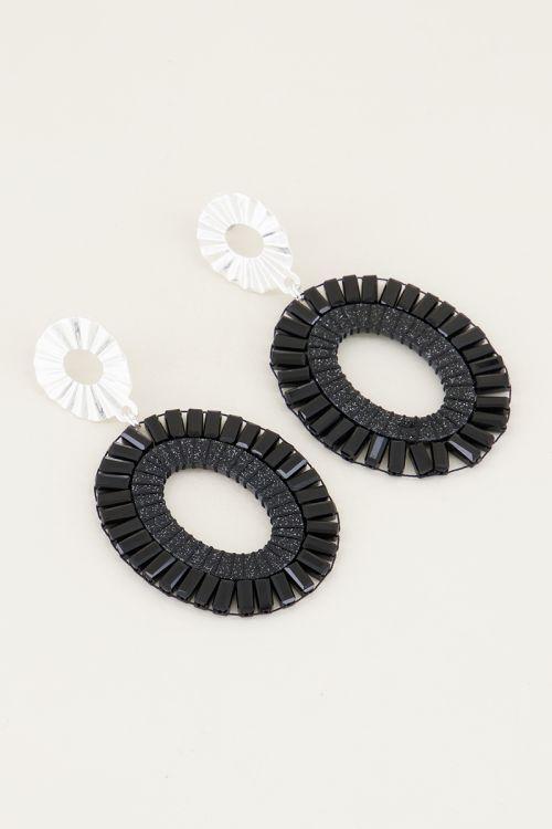 Oval drop earrings with black beads | Statement earrings My Jewellery