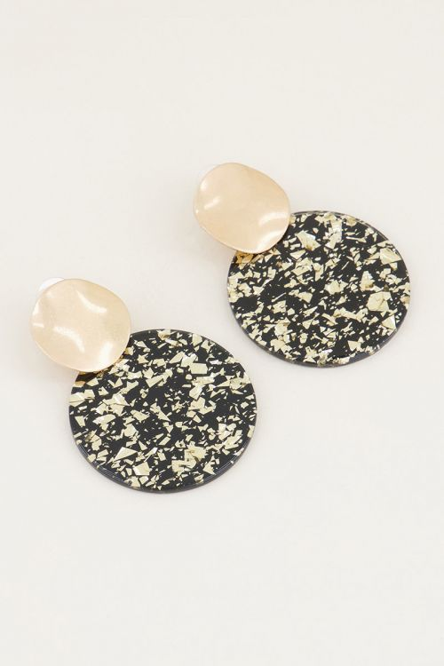 Circle drop earrings with gold-coloured glitter | Shop now | My Jewellery