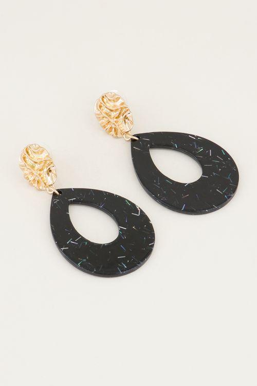 Zwarte oorhangers druppel met glitters, statement oorbellen My Jewellery