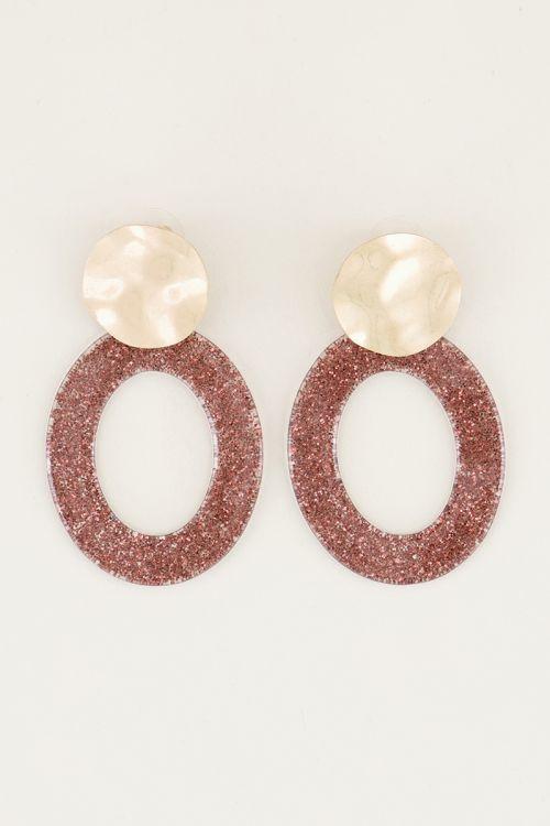 Orange oval drop earrings with glitter | Large earrings | My Jewellery