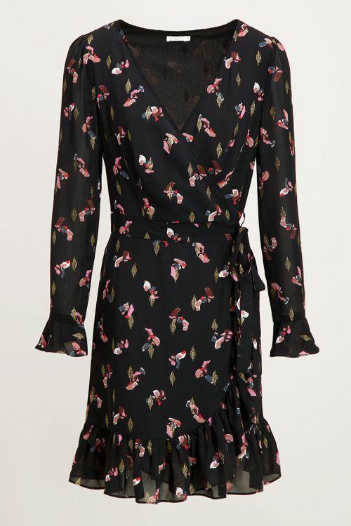 Overslagjurk Powerstones Print, zwart jurkje My Jewellery