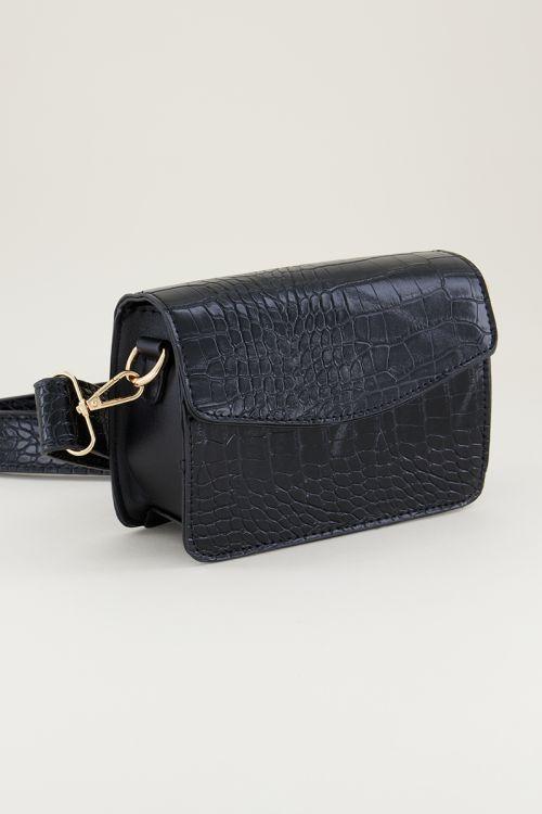 Zwarte schoudertas slangenprint brede band | Slangenprint tas My Jewellery