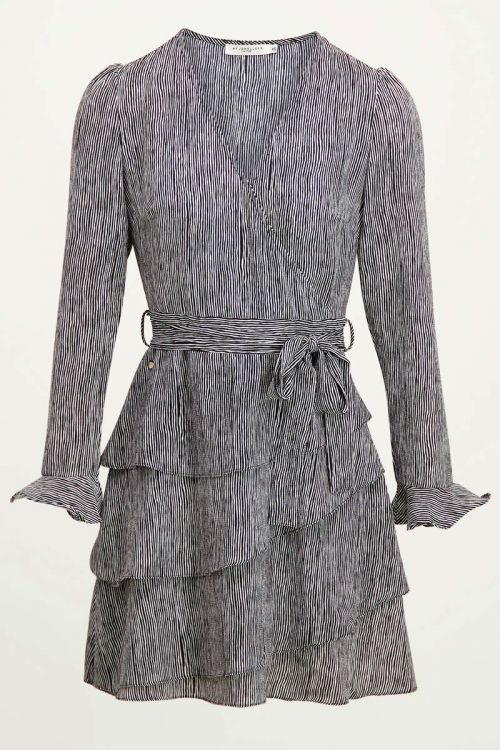 Overslagjurk streepjes & laagjes   Zwart wit jurk My Jewellery