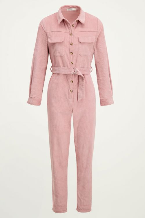 Roze corduroy jumpsuit, ribstof broekpak My Jewellery