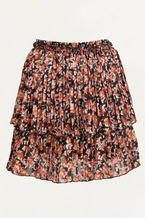 Oranje laagjes rok met paisley print & bladeren | Rokjes My Jewellery