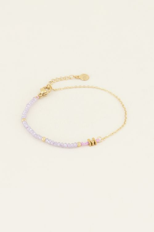 Lichtpaarse kralen armband | Initial armband | My Jewellery