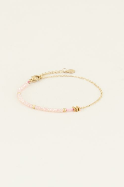 Roze kralen armband met initial   Zwarte armband   My Jewellery