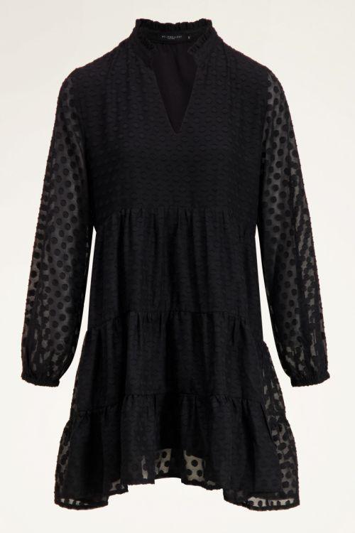 Zwarte wijdvallende jurk met v-hals | My Jewellery