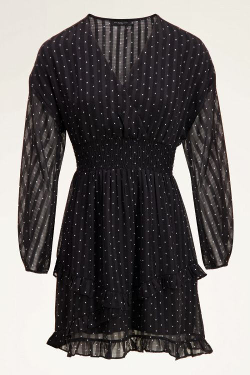 Black-and-white dress with dots & balloon sleeves   My Jewellery