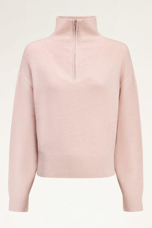 Roze wijdvallende trui met rits   My Jewellery