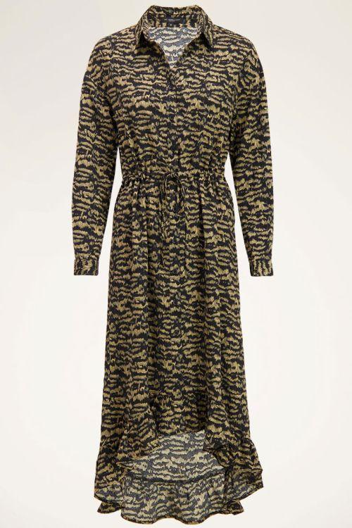 Green midi dress with zebra print   Dresses   My Jewellery