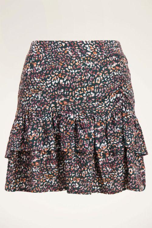 Multikleur rok met laagjes & luipaard print   My Jewellery