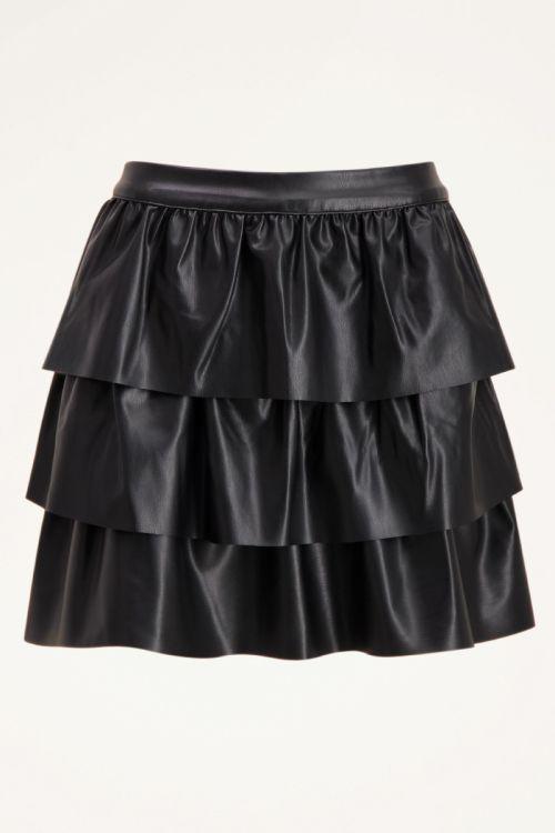 Zwarte leatherlook rok met laagjes | My Jewellery