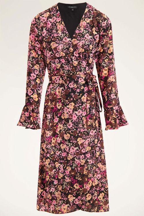 Roze midi wikkeljurk met bloemenprint | Midi jurken | My Jewellery