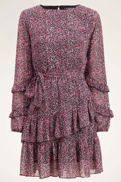 Roze jurk met bloemenprint en ruffle | My Jewellery