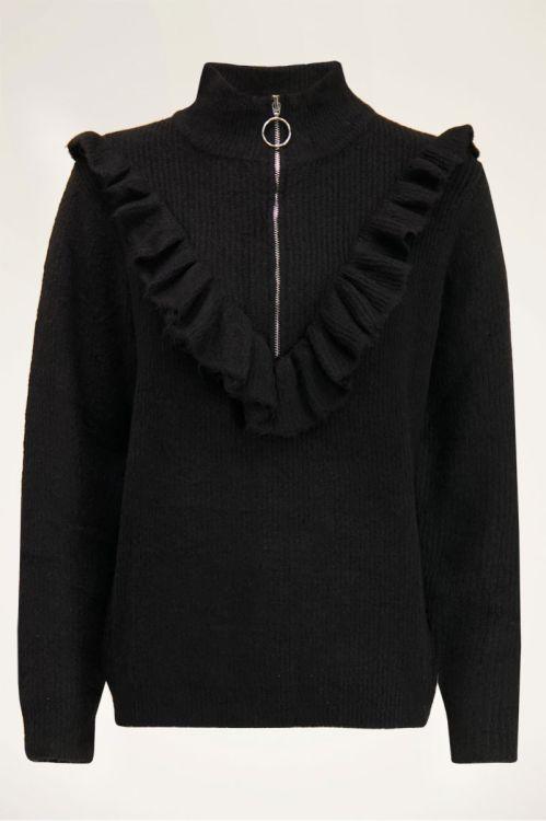 Zwarte trui met ruffle & rits| Truien | My Jewellery