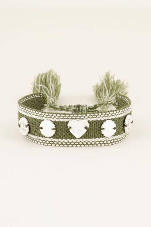 Groene bohemian armband zilveren bedeltjes | My Jewellery
