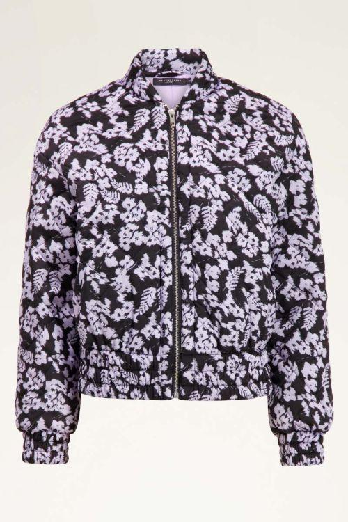 zwarte jas met lila bloemen | My Jewellery
