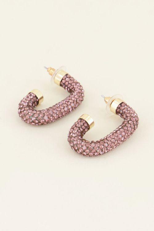Oorbellen roze strass ovaal kopen | My Jewellery