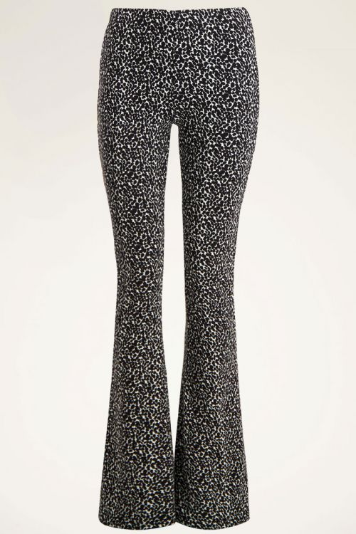 Black and white flared pants animal print   My Jewellery