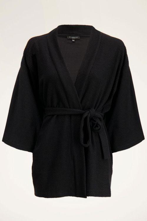 Zwarte kimono met structuur   My Jewellery