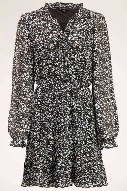 Zwarte jurk met blauwe luipaardprint | My Jewellery