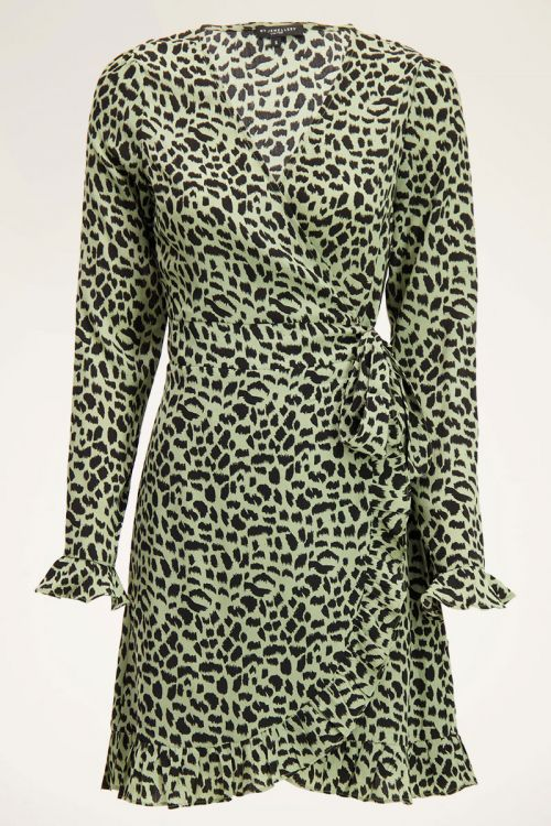 Groene wikkeljurk met cheetah print   My Jewellery