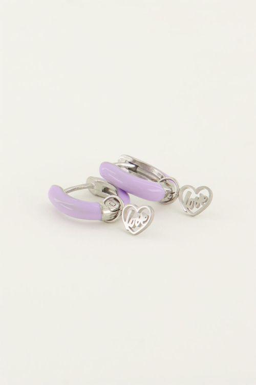 Oorringen lila love   My Jewellery