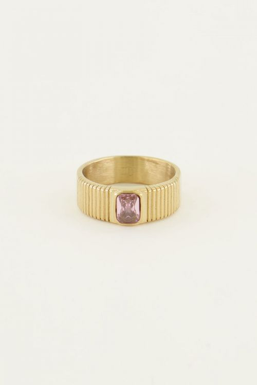 Brede ring met roze steen | My Jewellery