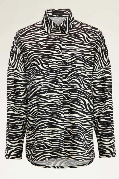Zwart witte blouse met zebra print   My Jewellery