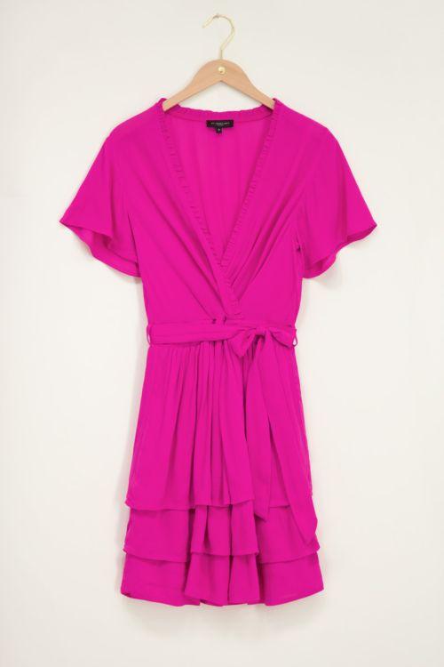 Roze crinkle jurk met laagjes