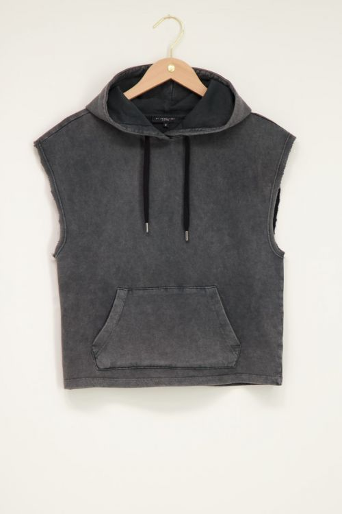 Grijze Mouwloze hoodie