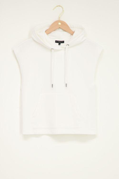 Witte mouwloze hoodie