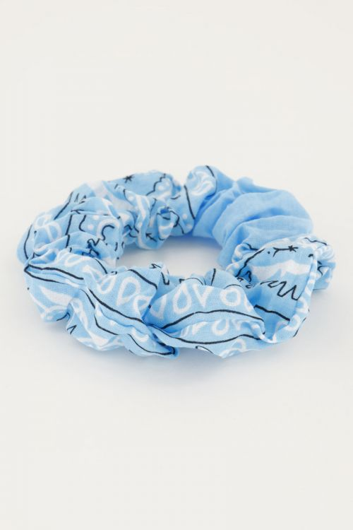 Scrunchie bandana print blauw