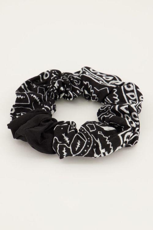 Scrunchie bandana print zwart