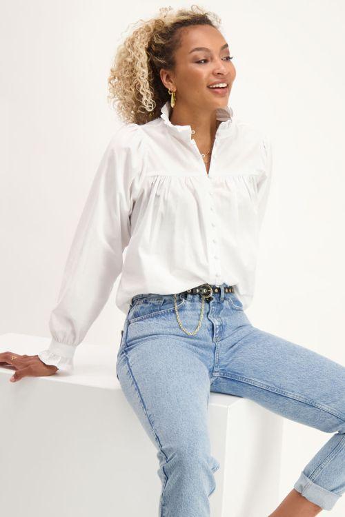 Poplin blouse met ruffle