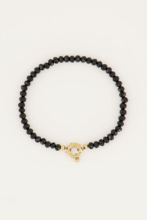 Zwarte kralen armband met slotje