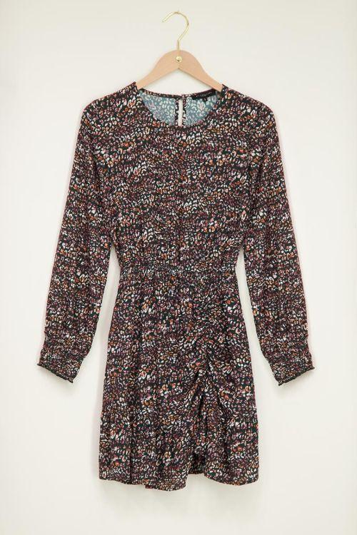 Donkergroene jurk met luipaardprint