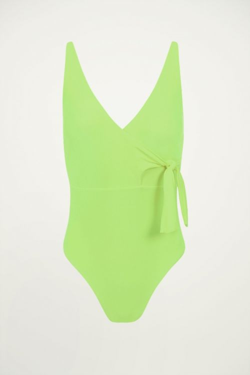 Neon groen badpak met overslag, wrap swimsuit