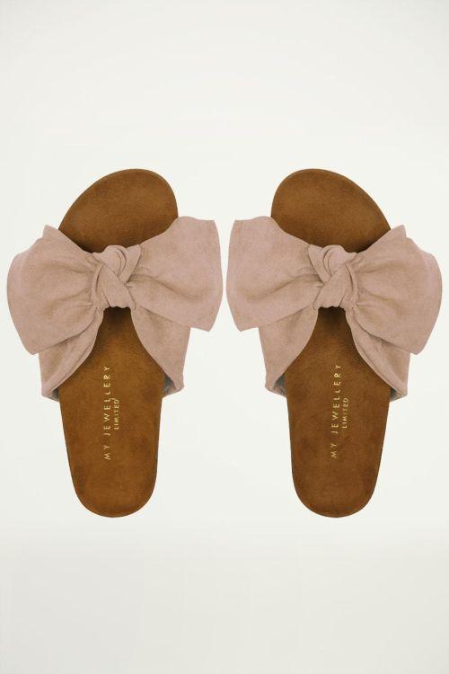 nude suedine sandalen met strik, sandaaltjes