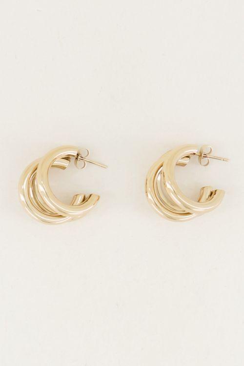 Oorringen driedubbel klein, bijzondere oorbellen