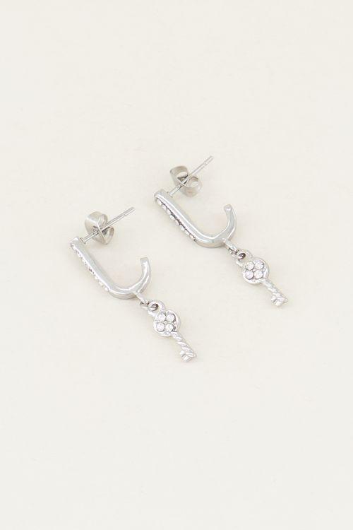 Oorhangers sleutel & witte strass steentjes | strass oorbellen My Jewellery