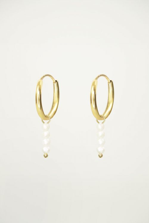 Hoop earrings with rod and pearls, pearl earrings