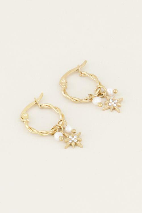 Oorbellen met parel en ster | Parel oorbellen bij My Jewellery